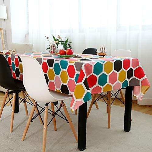 Rechthoekig tafelkleed, creatief modieus honingraat zeshoekig patroon, katoen en linnen stof, thuis restaurant tafeldecoratie