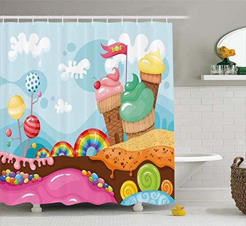 HYJDZKJY Ice Cream Douche Gordijn Dessert Land met Regenboog Snoepjes Lollipop Bomen en Cupcake Bergen Cartoon Doek Stof Badkamer Decor Set met Haken