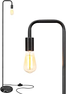HAITRAL Modern Floor Lamp -Minimalist Metal Industrial Standing Lamp with Marble Base, On/Off Pedal Switch Tall Reading Lamp for Living Room, Bedroom, Office - Black (HT-TH146-02)
