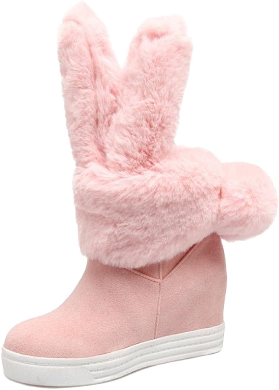VulusValas Women Cute Hidden Heel Boots Pull On