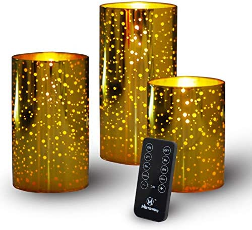 M Mirrowing Flameless Candles Gold Mercury Glass Candle Decorative LED Candle Real Wax Set of product image