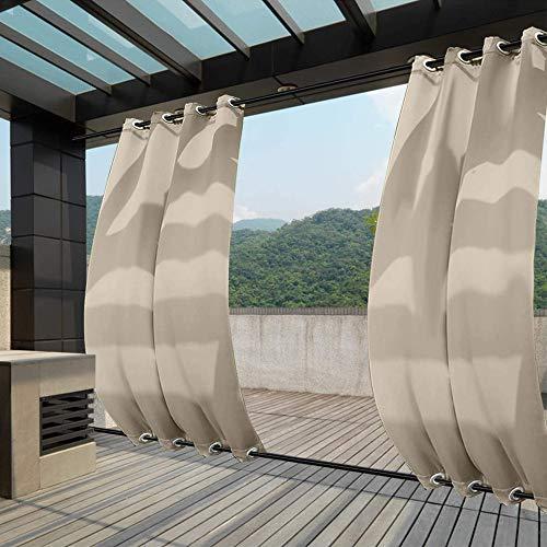 Clothink Outdoor Vorhänge 132x215cm(BxH) mit Ösen Oben(ID:4cm)+Unten(ID:4cm) Beige Aussenvorhang Seitenmarkise Balkonsichtschutz Blickdicht Winddicht Wasserabweisend Sichtschutz Sonnenschutz UVschutz