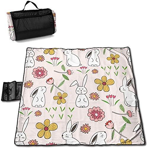 Gaby-Shop Matte Outdoor Picknick Decke Kaninchen Hase Rosa Blumen Ostern Sanddichte Strandmatte Tote für Camping Wandergras Reisen