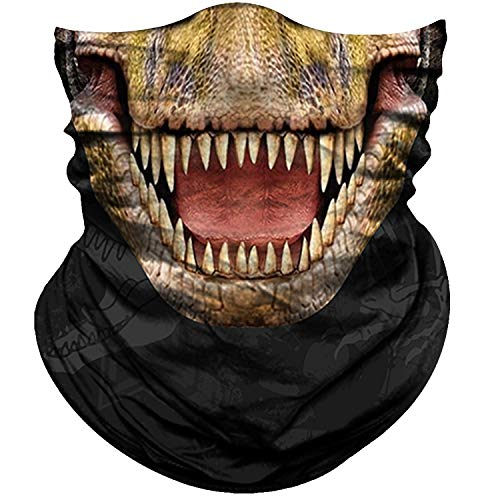 Obacle Motorcycle Face Mask Sun UV Dust Wind Protection Tube Mask Seamless Bandana Face Mask for Men Women Bike Riding Cycling Biker Fishing Outdoor Festival (Dinosaur Open Mouth)