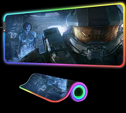 Gaming Mouse Pad Halo Chief and Cortana RGB Mouse Pad Gaming Large Computer Gamer LED Backlight Pad Keyboard Laptop Notebook PC Desk Mat Gift,31.49 inch x12 inch