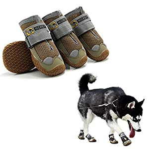 Hcpet Dog Shoe Pet Booties Waterproof Breathable Non-Slip 3M Reflective Strap Muticolor Small to Large Size 4pcs/Set