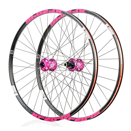 Mountain Bike 26/27.5/29 Inch Wheels, MTB Aluminum Alloy Wheels, Bearing F2/R4, 6 Paw 72click System, Suitable for Road Bikes, Racing Wheel Parts (Black/Pink) (Size : 26')