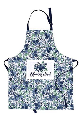 AMOUR INFINI Damen Küchenschürze blühend blumig | 70 x 85 cm | 100% natürliche Baumwolle | Damenschürze zum Kochen, Backen, Gärtnern | Praktische Taschen, verstellbare Halsbänder und Taillenbänder