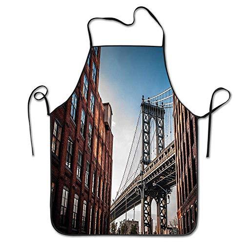 AOOEDM Manhattan Bridge Visto Desde Narrow Alley Island Borough Globally Influential Town NYC (1) Delantal para Cocina BBQ Barbecue Cooking Chef Gift para Mujeres Hombres