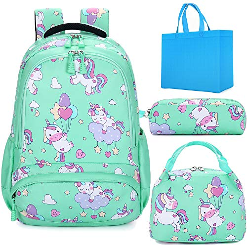 Kids School Backpack for Girls Unicorn Backpacks for Elementary School Bookbag 3PCS Sets School Bag with Lunch Tote Pencil Pouch Water Resistant Green