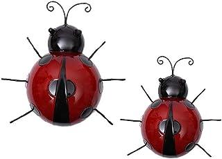 MIYU Metal Garden Ladybug Indoor And Outdoor Ladybird Wall Sculptures Backyard Fence Decor 2pcs/set 2 Sizes