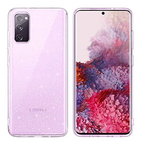 DUEDUE Samsung Galaxy S20 FE 5G Hülle Transparent Glitzer Handyhülle Nicht Vergilbend Samsung S20 fe Hülle Silikon TPU Schale Hardcase Schutzhülle Klar Glitzer Cover für Samsung Galaxy S20 FE 5G