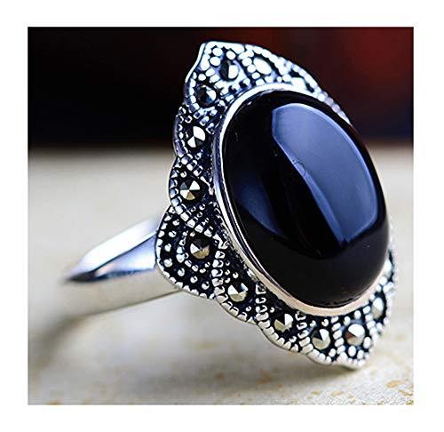 CHXISHOP Anillo de plata de ley 925 con piedras preciosas puras para mujer, joyería de plata de ley, anillo ajustable de apertura, joyería para cena, fiesta, color negro, talla única