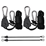 Rope Ratchet- Heavy Duty Adjustable Retractable Yoyo Grow light Pulley system hangers- For Fluorescent light reflectors and shop lights- Lights Stay In Place- Protect Your Plants 150lb Capacity- Best