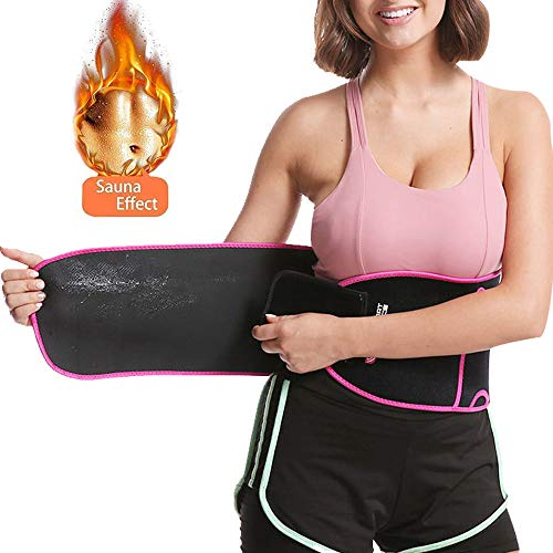 LEIKUO Waist Trimmer Belt, Slimmer Kit, Weight Loss Wrap, Stomach Fat Burner, Low Back and Lumbar Support with Sauna Suit Effect, Best Abdominal Trainer, Arm & Thigh Shaper,Pink (Pink, Large)