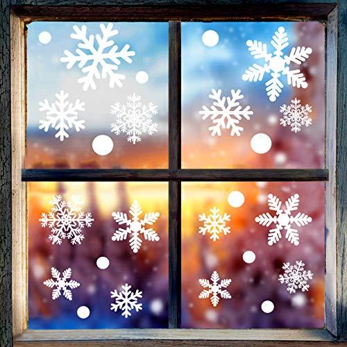 homeasy Weihnachten Aufkleber 135 Schneeflocken, Fensterdeko, Fensterbilder für Weihnachts- und Winter- Dekoration Weihnachten Selbstklebend Fensteraufkleber