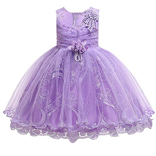 Cichic Baby Girl's Dress Girls Party Dresses for Christmas Halloween Costumes Knee Length Flower Girl Dress 0-10 Years (3-4 Years, Lavender)