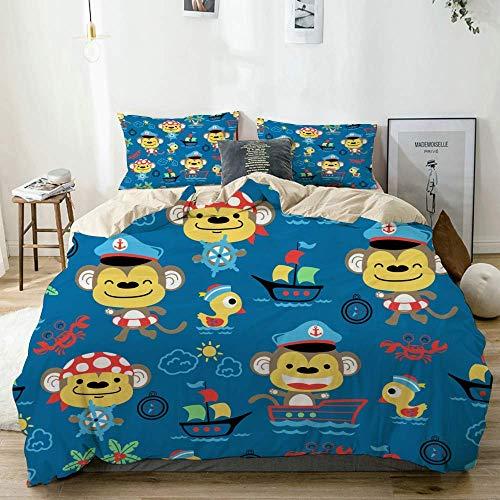 Set copripiumino beige, set tema cartone animato scimmie sulla vela, set di biancheria da letto decorativo 3 pezzi con 2 fodere per cuscini facile da pulire anti-allergico morbido liscio