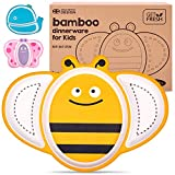 GET FRESH Bamboo Kids Divided Plates – 1pc Cute Bee Bamboo Toddler Divided Plate with 3 Compartments – Reusable Animal Sectioned Bamboo Fibre Childrens Plates – Dishwasher Safe Bamboo Kids Dinnerwar