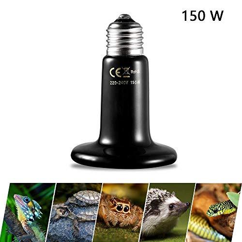 Mein HERZ 150W Lámpara de Calentamiento de Cerámica, Bombilla de Calor Infrarroja de Cerámica, Tortuga Calentador Reptil Mascota/Serpiente/Pollo/Lagarto/Gato/Perro/Calor Reproducción (220-240V)