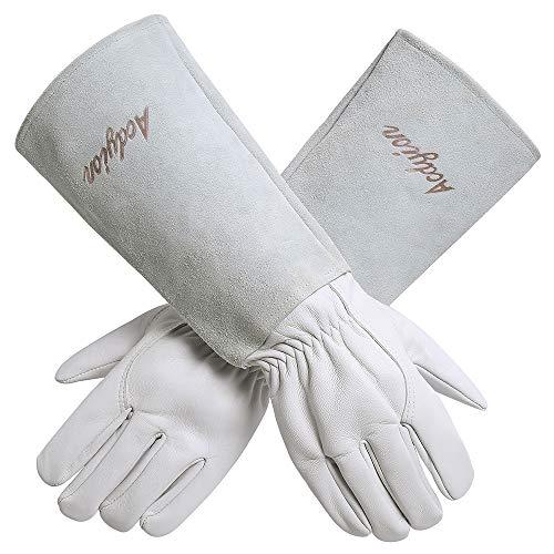 Gartenhandschuhe Damen Herren - Acdyion Rindsleder Gartenhandschuhe mit langem Unterarmschutz, Beschneiden oder Behandeln von Dornenzweigen für Kaktus Rose usw (Large, Weiß)