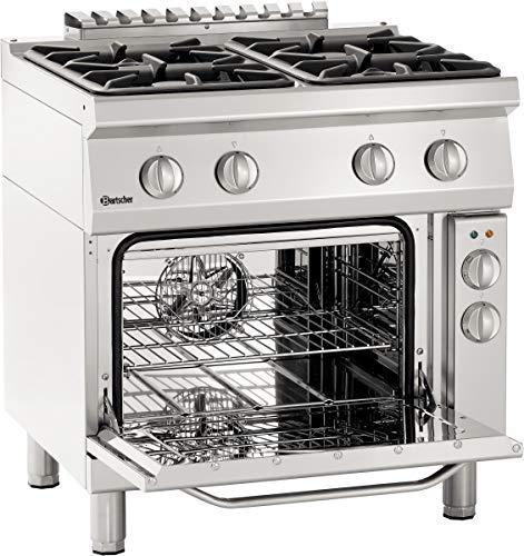 Bartscher Gasherd 700, 800mm, 4 Flammen, Elektro-Umluftbackofen 1/1 GN - 2852441