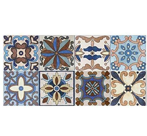 1 Rollo 0.2x5m Retro Mosaico Azulejos Pegatinas Línea de Cintura Pegatina de Pared Papel Pintado Cocina Cuarto de baño Borde de Inodoro Decoración a Prueba de Agua (Color : C013)