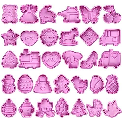 FOCCTS - Set di stampi, 32 pezzi, per pasta di zucchero e biscotti.
