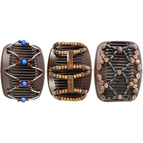 com-four® African Butterfly - Afrikanische Haarklammer Haarspange Haarkamm (3er Set - Braun)