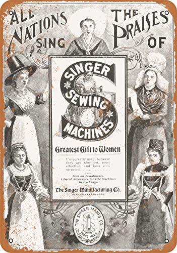 RTOUTS 1897 Singer Máquinas de Coser Metal Retro Tin Sign Placa Antigua Cartel de Sala Bar Pub Hogar Vintage Aluminio para Decoración de Pared 20 x 12 pulgadas