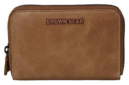 Brown Bear Geldbörse Damen Leder Braun Camel Vintage groß viele Fächer Echtleder Reißverschluss umlaufend RFID Schutz Blocker hochwertig Frauen Geldbeutel Portemonnaie Portmonaise Portmonee