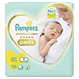 Pampers Premium Care Pants, New Born, Extra Small size baby diapers (NB,XS), 70