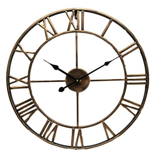 vosarea Vintage reloj de pared de metal números romanos reloj de pared grande reloj silencioso, redonda para salón dormitorio cocina
