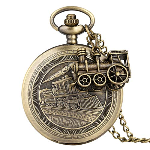 ZHAOXIANGXIANG Reloj De Bolsillo Retro,Accesorio De Tren De Bronce Colgante Reloj De Bolsillo De Cuarzo Collar Antiguo Reloj De Bolsillo Hombres Mujeres con Cadena Retro Regalo, C