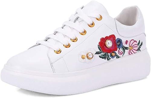 HRN Chaussures pour Femmes en Cuir Bottines à Fond Rond à Muffins Bottines Lacets Confortables Chaussures décontractées Confortables décontractées Printemps Nouvelles,blanc,38EU