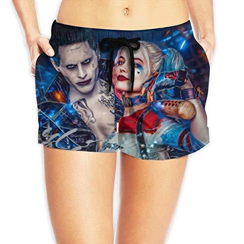 HADIHADI Harley Quinn Clown Girl und Joker Damen Printed Beach Shorts Drawstring Board Female Pants Badehose Strand Boardshort Gr. L, weiß