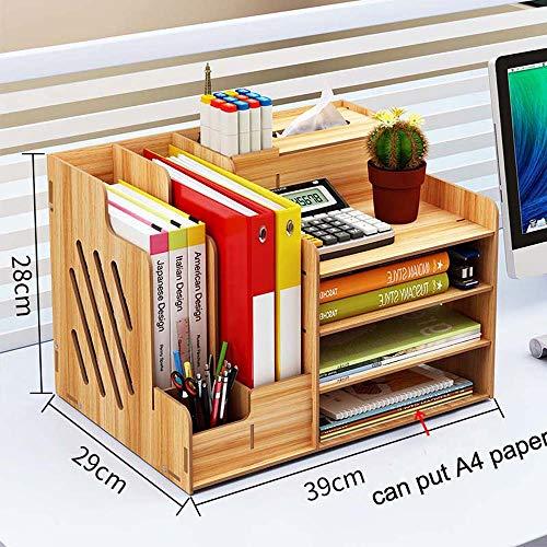 Ecent Büro Organisator Schreibtisch Organizer Holz DIY + Serviettenbox + Stifthalter Dokumentenhalter für Büro, Haushalt und Schule