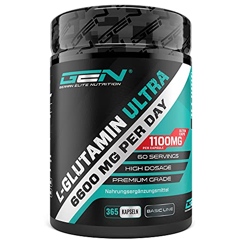 L-Glutamin - 365 Kapseln - Extra hochdosiert mit 1100 mg je Kapsel - 6600 mg pro Tagesportion - Reines & ultrafeines L-Glutamine - Ohne unerwünschte Zusätze - Laborgeprüft - Premium Qualität
