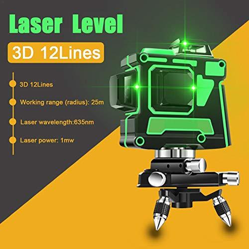 Kruislijnlaser groen 3D 12 laserlijn zelfnivellerend lijnlaser groene laser 25M 360 horizontaal en verticaal kruis supersterke groene laserstraallijn, IP 54 stof- en waterdicht