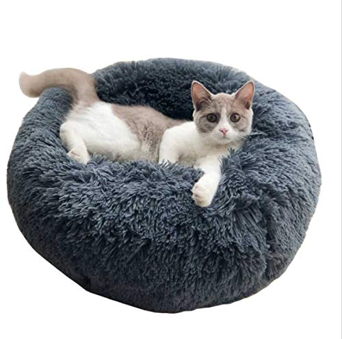ALLNEO Original Cat and Dog Bed Luxury Shag Fuax Fur Donut Cuddler Round Donut Dog Beds Indoor Pillow Cuddler for Medium Small Dogs