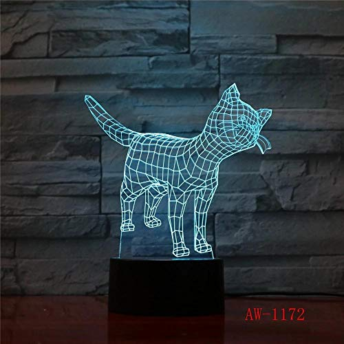 Lindo Gato 3D Luz Nocturna Creativa Ilusión Eléctrica Lámpara 3D Led 7 Colores Cambiantes Usb Lámpara De Escritorio Táctil Para Regalo De Chico