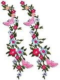 2 Piezas flores parche bordado floral Applique coser en parches ropa DIY Craft costura, vestido, camiseta, chaquetas, pantalones vaqueros, falda, decoración artesanal Parches
