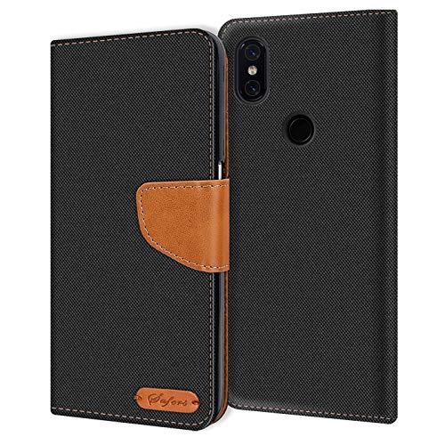 Verco kompatibel mit Xiaomi Mi 8 Hülle, Schutzhülle für Mi 8 Tasche Denim Textil Book Hülle Flip Hülle - Klapphülle Schwarz