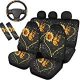 Frestree Sunflower Butterfly Print Car Seat Covers Set for Women, with Steering Wheel Cover Seat Belt Pads 7 Packs, You are My Sunshine