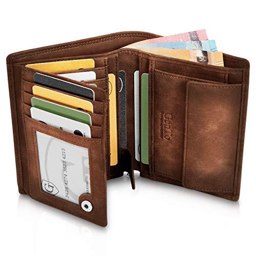 GenTo® Dublin Geldbörse mit Münzfach - TÜV geprüfter RFID, NFC Schutz - geräumiges Portemonnaie - Geldbeutel für Herren und Damen - Portmonaise inkl. Geschenkbox (Dunkelbraun - Soft)