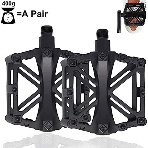 Bike Pedal 9/16' Non-Slip MTB Mountain Bicycle Pedals with 16 Anti-Skid Pins, Universal Lightweight Aluminum CNC Bearing Bicycle Pedals for BMX Travel Cycle-Cross Bikes