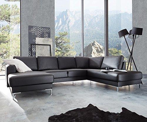 DELIFE Couch Silas Schwarz 300x200 cm Ottomane Rechts Designer Wohnlandschaft