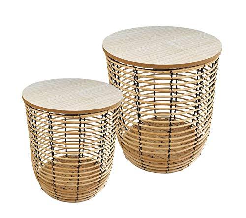 Juego de 2 mesas auxiliares de bambú – 26/31 cm – en imitación de ratán con cesta – Mesa de café