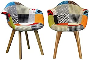 RedOAK Gavin (Set of 2 Chairs) with armrest, Patchwork Fabric