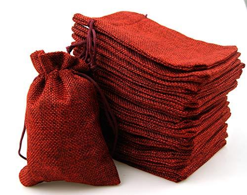 ARTESTAR 24 Bolsas de arpillera de Yute navideñas, Bolsas de Regalo con Calendario de Adviento, Bolsa de Almacenamiento, Bolsas de arpillera, Papel de Regalo Reutilizable(Rojo)
